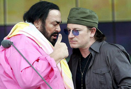 Pavarotti and Bono (U2)