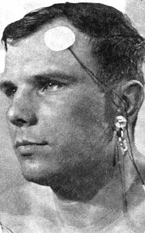Yuri Gagarin three hours before the launch to space