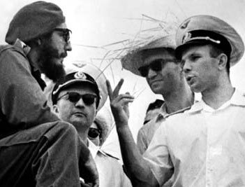Yuri Gagarin and Fidel Castro