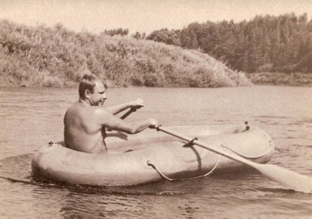 Gagarin on the Ugra river