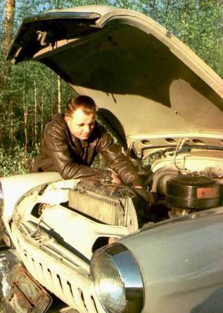 Gagarin and his car