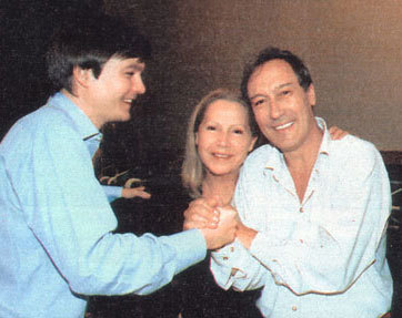 With her husband, Oleg Jankowski and his son Philip