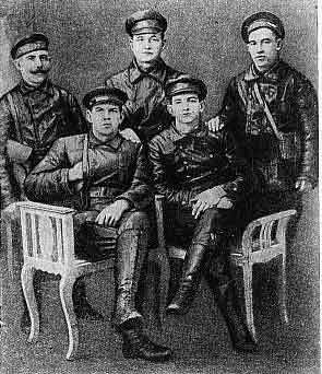 The leaders of the Revolutionary headquarters of the Danube fleet: in the first row sitting - Anatoly and Nicholas Zheleznyakova; in the second row standing - Naumov P Б•¬ Tp D., Kosarev, Sam Б•¬ new. MAR. 1918